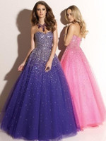 Wholesale Sweetheart Paillette Sleeveless Prom Dresses - Latest 2015 Purple Ball Gown Prom Dresses Tulle Sweetheart Neckline Paillette Sleeveless Lace Up Back Floor Length Fomal Evening Party Gown