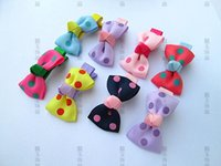 Wholesale Hot Sale Children s Hair Accessory Polka Dot candy color Rib Ribbon Bowknot BB Clips
