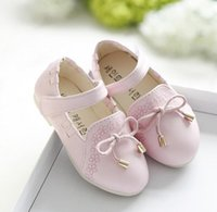 Wholesale New to the Autumn Baby Girls Shoes PU Leather Bowknot Flower Children Kids Girl Slip on Party Dance For Dress Magic Tape Flats