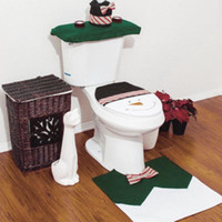 Wholesale New Fashion Cute Happy Snowman Toilet Seat Cover Rug Bathroom Set Christmas Home Decoration