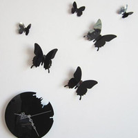 Wholesale 2016 new D Diy Fashion Home Decoration Butterfly Wall Sticker Mirror Surface Mirror Clock Decal Living Room Mute Wall Clock Home Decor
