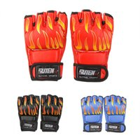 Wholesale Professional PU Leather MMA Flame Muay Thai Training Gloves Sanda Mitts Sandbag Punching Sparring Boxing Gloves Half Finger