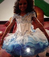girls knee length pageant dresses - 2015 Girls Short Pageant Gowns with Beads Crystal Halter Organza Cheap Fashion Little Flower Girls Dresses for Weddings Custom Made