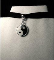 Wholesale Choker Enamel Yin Yang on Black Velvet Choker Yin Yang choker Yin Yang necklace Enamel Yin Yang charm Yoga Zen black velvet ribbon
