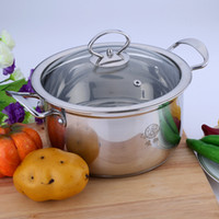 Wholesale Hot sale short Body Stainless Steel Cooking Stock Pot with Compound Bottom soup pot casserole