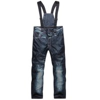 Wholesale Ski Trousers Unique Casual Denim Suspenders Ski Jeans Waterproof Breathable Warm Skiing and Snowboarding Men Pants