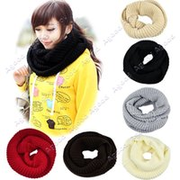 knit circle scarf - Winter women Lady girls Warmer Knitting Loop Hood Neck Circle Cowl Wool Scarfs Shawl Wrap