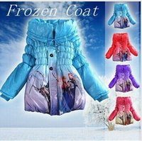 Wholesale Hot girls frozen winter coat jacket fashion baby girl Frozen Queen Elsa Anna Snowsuit Outwear winter children cotton padded hoodies coats