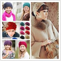 crochet headbands - Hot Selling New Lady Women Fashion Camellia Warm Soft Wool Crochet Headband Knit Wide Woman Headband Hair Accessories