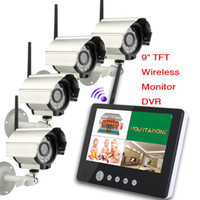 Wholesale 9 inch TFT LCD Digital G Wireless Audio Video CH Quad DVR CCTV camera Security Surveillance System With IR night light Cameras