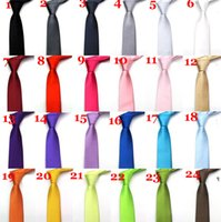 Wholesale 150pcs colors New Mens Skinny Solid Color Plain Satin Tie With OPP Bag Necktie silk tie black and white necktie silk jacquard woven tie