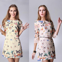 Wholesale High Street Fashion Women Butterfly Lace Dresses Casual Patterns Dress Half Sleeve Print Flower Dress Vestidos B11 CB033266 G0904