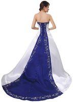 decorative buttons - Classic Strapless Satin Wedding Dresses Decorative Buttons Lace up Back Closure Delicate Embroidery Bridal Gowns Vestidos De Noite