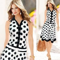 Wholesale 2015 Summer Women s Single Breasted Elegant Polka Dots Lapel Neck Knee Length Sleeveless A Line Dress With Belt Colors