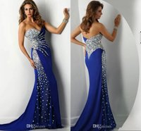 Wholesale 2015 Crystal Beaded Royal Blue Evening Dresses Sweetheart Strapless Chiffon Party Prom Dress Backless Long Mermaid Sweetheart Evening Gown