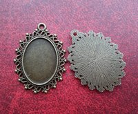 Wholesale 40pcs inner mm Flattened Antique bronze Blank Tray Necklace Pendant Charm For jewelry making Cabochons Stickers DIY accessorie N1