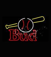 baseball bat logos - Budweiserr Bud Baseball and Bat Real Neon Sign for Bar Real Glass Tube Handcraft Store display Custom LOGO Design x20