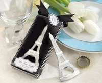 Wholesale 600pcs Creative novelty home party items The Eiffel Tower Chrome bottle opener wedding favors gift box packaging