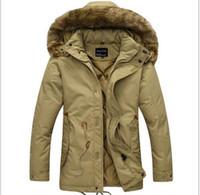 fur collar coat men - new Winter Casual Canada Mens fur collar coat army green outwear coats military man jacket ropa hombre winter jacket men Parka Coats