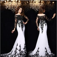 Wholesale 2016 New Sexy Sheer Black White Evening Gowns Mermaid Lace Applique Long Sleeves Court Train Celebrity Red Carpet Prom Dresses BO6607