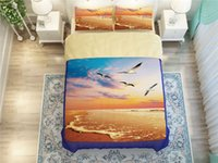 beach decor bedding - orange sea bulls bird beach printed bedding set for adult home decor twin full queen king size comforter duvet covers bedclothes