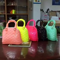 jelly bag - Lady fashion jelly shoulder bags handbags shell shape in mixed candy colors flash pink zipper fashion bags enviroment friendly OEM