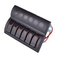 Wholesale 6 GANG WATERPROOF MARINE BOAT CARAVAN Red LED ROCKER SWITCH PANEL AUTO FUSES