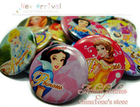 Pendant badge pendants - A Set of Princess Tin Buttons pins badges MM Round Brooch Badge For Children Toy Mixed Styles Kids Party Favor