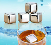 Wholesale 200 High Quality Stainless Steel Ice Cube with free Clip Whiskey Chilling Stones Cooler Drink Chiller Whisky Rock Stones Cooler