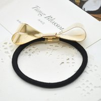 Wholesale Metal lovely golden bowknot Hair Band Fashion Wedding Party Casual Fashion Elastic hairbands jewelry Y60 SS0229 M5