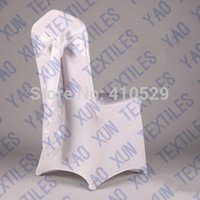Cheap Wholesale-White Color Satin Chair Sash Used On Lycra Spandex Wedding Chair Cover
