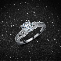real diamond ring - ebay hot New real Sterling silver ring with clear AAA zircon diamond for young lady