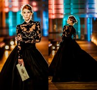ball elastic - 2017 Vintage Long Sleeves Evening Dresses High Neck Appliques Lace Elastic Satin Custom Made Black Ball Gown Prom Dresses Formal Gowns