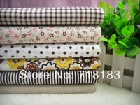 Wholesale 6Pcs x50cm Mixed Coffee Tilda Patchwork Cotton Fabric Home Textile Cloth Group for Tilda Cloth Crafts Handwork W02471