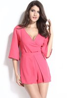short kimono - New Women Summer Sexy Neon Rose Wrap Skort Playsuit Shorts Catsuit V neck kimono sleeve jumpsuit overalls B5056