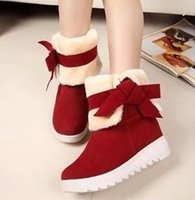 ankle wedges - new autumn and winter fashion wear cute bow two in tube snow boots
