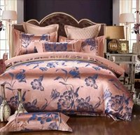 king size bed set - Luxury Jacquard Embroidered Pieces Queen King Size Wedding Gift tencel Silk Bedding Supplies Bedding Set Cotton Duvet Cover bedsheets Set