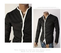 Wholesale New Men s Shirts Features Without Collar Shirts Casual Slim Fit Stylish DressShirts Color White Black Size M L XL
