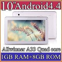 Wholesale Google inch Quad core GHz Allwinner A33 Android tablet pc Capacitive GB GB Dual Camera Bluetooth USB OTG PB