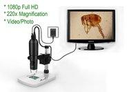 Loupe 1080P Full HD Digital Microscope, Caméra Microscope HDMI, grossissement 10x 220x, à n'importe quel moniteur / téléviseur avec HDMI-In, Photo Capture