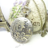 steampunk watch - 1 Steampunk Watch Classic Word Antique bronze Necklace Vintage Jewelry Alloy Carved Openable Quartz Pocket Watch Pendant