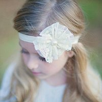 Wholesale 1 Baby Kids Infant Girl Toddler pearl Flower Lace Headband Headwear Hair Band Hot Hair Accessories