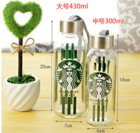 Wholesale Starbucks Coffee Glass cartoon transparent glasses with Portable sealing rope sizes ml ml ml Drinks Glass