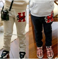 Wholesale Retail one piece The cotton letter H pattern trousers Children s leisure casual pants KP002R
