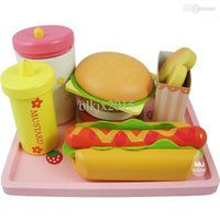 baby food shopping - Baby Toys Strawberry Hamburger Shop Play Food Wooden Toys Hamburger Set Hot Dog Set Kids Kicthen Toys Birthday Gift