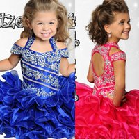 Wholesale Beauty Ritzee Girls Pageant Dresses Halter Neck Crystal Beads A Line Short Toddler Pageant Dresses Cupcake Kids Formal Wear Custom Hot
