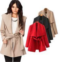 Wholesale Autumn And Winter Elegant Women Woollen Lapel Trench Coat Outerwear Medium Long Warm Coats Khaki Red Black S L