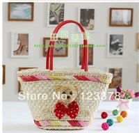 baling straw - The new lovely bear straw bales han edition female tide one shoulder hand bags