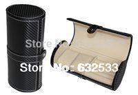 Wholesale black multifunction travel round watches Cufflinks box