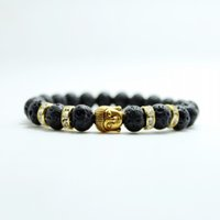 alloy stone products - Fashion jewelry black Lava stone gold buddha beads bracelet charm bangles Natural stone for men and women jewelry New Products